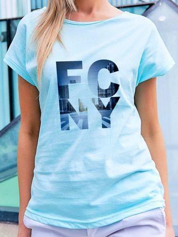 T-shirt z miejskim nadrukiem turkusowy