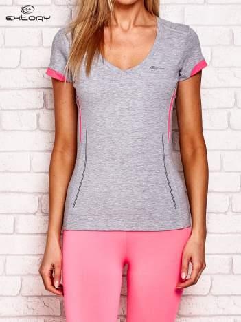 T-shirt z modelującymi wstawkami szary