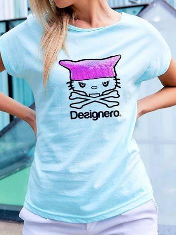 T-shirt z nadrukiem kota i napisem turkusowy