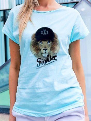 T-shirt z nadrukiem lwa turkusowy