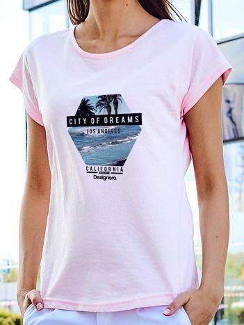 T-shirt z nadrukiem morza jasnoróżowy