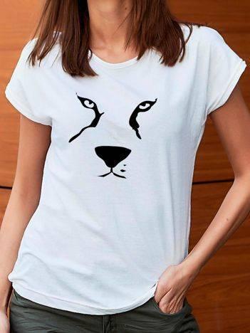 T-shirt z nadrukiem zwierzęcia biały