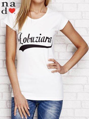 T-shirt z napisem ŁOBUZIARA ecru