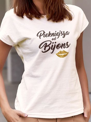 T-shirt z napisem PIĘKNIEJSZA OD BŸONS ecru
