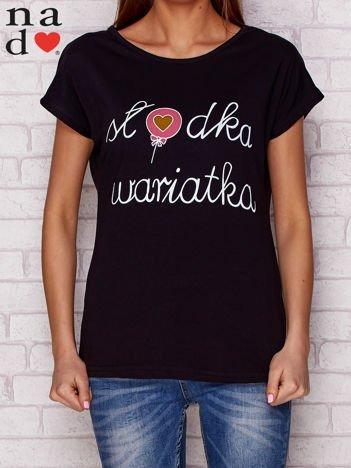 T-shirt z napisem SŁODKA WARIATKA czarny
