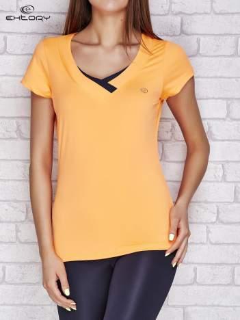 T-shirt z trójkątnym dekoltem jasnopomarańczowy