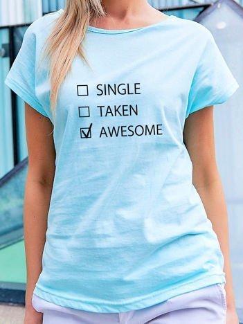 T-shirt z zabawnym nadrukiem turkusowy