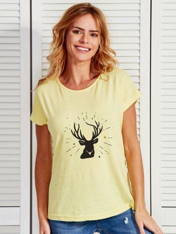 T-shirt żółty z reniferem