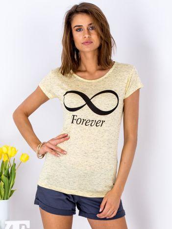 T-shirt żółty ze znakiem nieskończoności