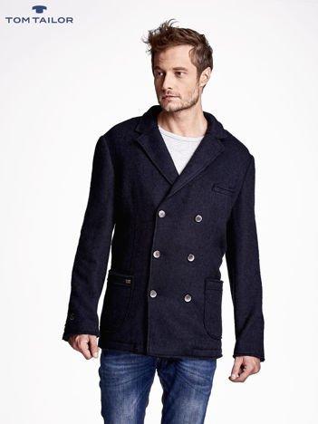 TOM TAILOR Granatowy dwurzędowy płaszcz męski