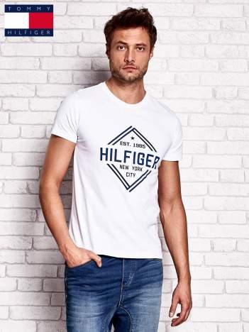 TOMMY HILFIGER Biały t-shirt męski z nadrukiem