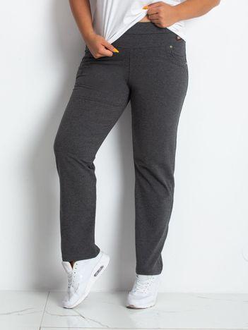 TOMMY LIFE Ciemnoszare spodnie dresowe damskie