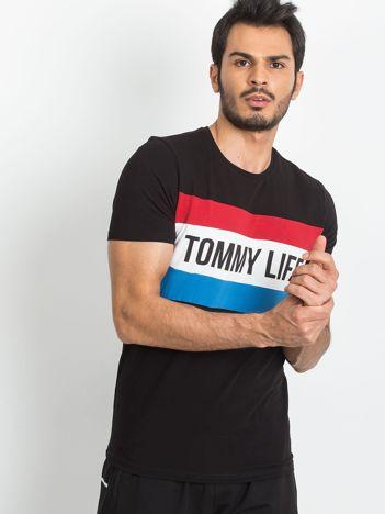 TOMMY LIFE Czarna koszulka męska
