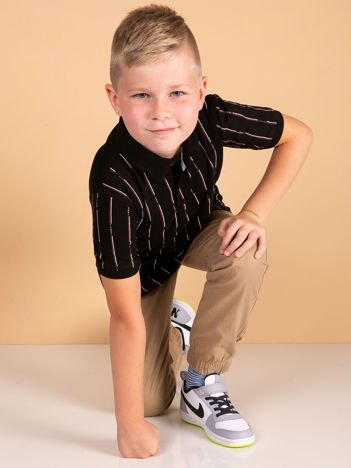 TOMMY LIFE Czarna koszulka polo dla chłopca w paski