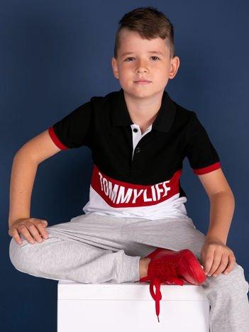 TOMMY LIFE Czarno-biała koszulka polo dla chłopca