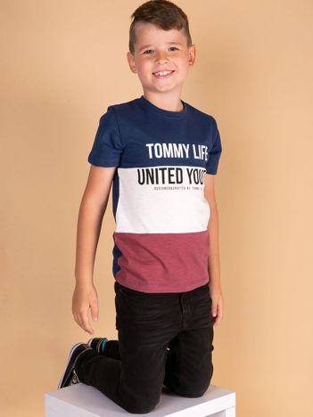 TOMMY LIFE Granatowo-bordowy t-shirt dla chłopca