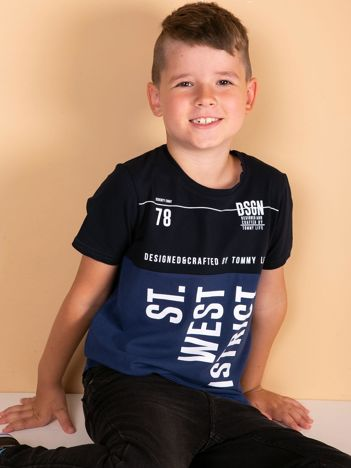 TOMMY LIFE Granatowo-niebieski t-shirt dla chłopca