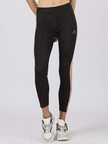 TOMMY LIFE Sportowe legginsy czarno-różowe