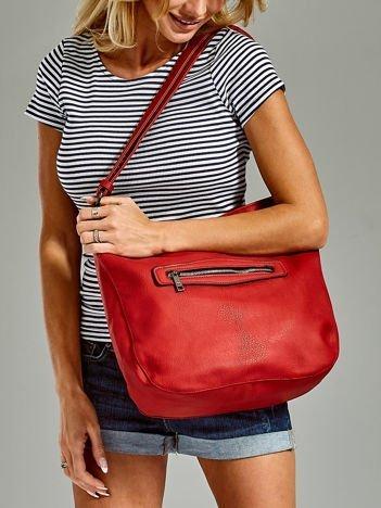 Torba shopper z zamkami i regulowanym paskiem czerwona
