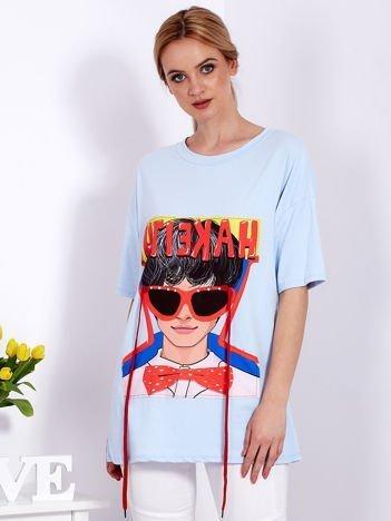 Tunika niebieska z naszywką dziewczyny