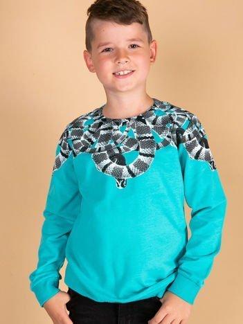Turkusowa bawełniana bluza dziecięca z nadrukiem węży