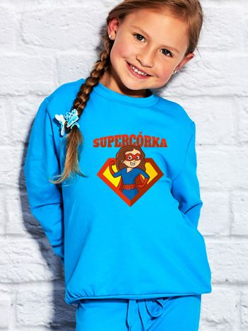 Turkusowa bluza dziecięca SUPER CÓRKA brunetka