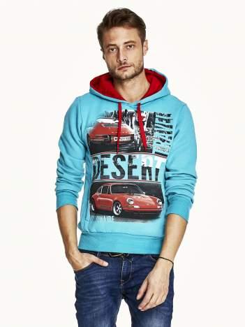Turkusowa bluza męska z samochodowym nadrukiem