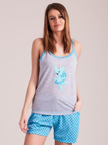 Turkusowa piżama do spania z nadrukiem