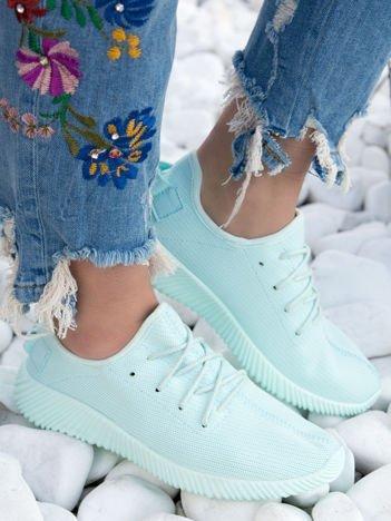 Turkusowe buty sportowe pattern z tkaniny z uchwytem z tyłu na sprężystej podeszwie