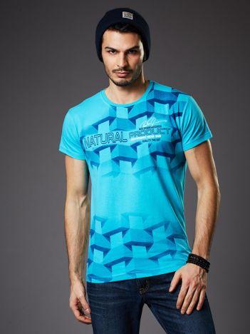Turkusowy t-shirt męski z futurystycznym nadrukiem