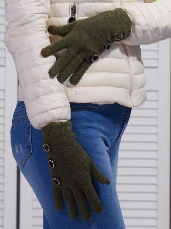 Wełniane rękawiczki damskie dotykowe khaki