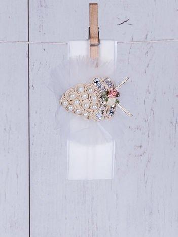 Wizytowa opaska dziewczęca z różyczkami i perełkami ecru