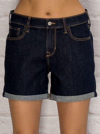YUPS Ciemnoniebieskie jeansowe szorty