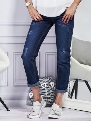 YUPS Spodnie jeansowe z przetarciami ciemnoniebieskie