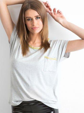 YUPS Szary t-shirt z błyszczącą lamówką
