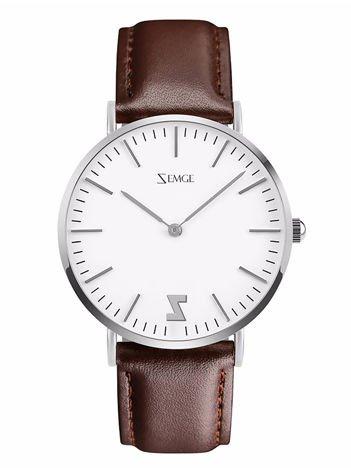 ZEMGE Zegarek damski srebrny na skórzanym brązowym pasku Eleganckie pudełko prezentowe w komplecie