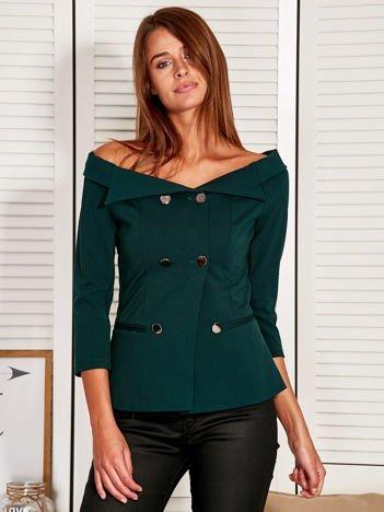 Żakiet damski z błyszczącymi guzikami zielony