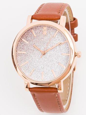 Zegarek damski glitter brązowy
