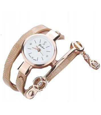 Zegarek damski na owijanym pasku beżowy