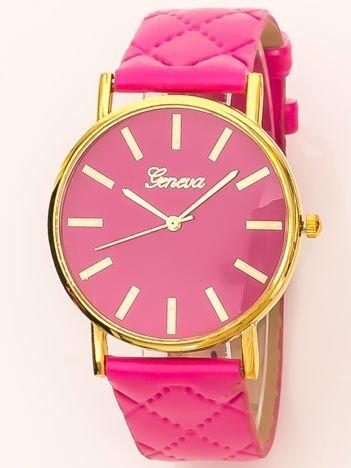 Zegarek damski na pikowanym pasku różowy