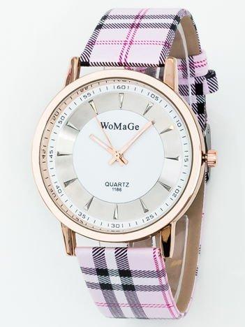 Zegarek damski w kratę różowy