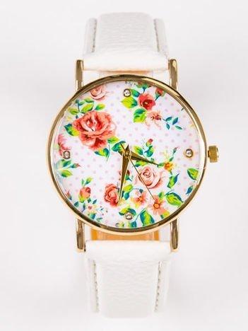 Zegarek damski z delikatną tarczą w KWIATY