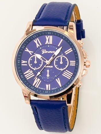 Zegarek damski z ozdobnym chronografem chabrowy