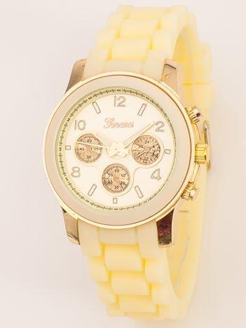 Zegarek damski z ozdobnym chronografem na wygodnym silikonowym pasku ecru