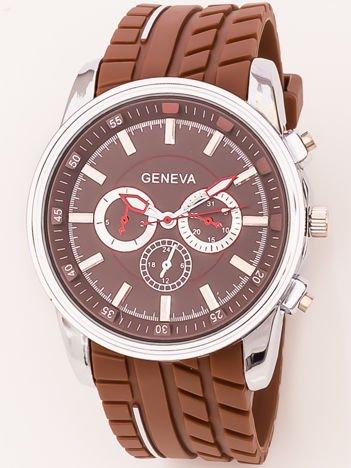 Zegarek męski stylizowany dla rajdowców brązowy