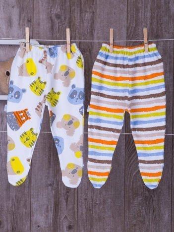 Zestaw bawełnianych śpioszków dziecięcych biało-pomarańczowy
