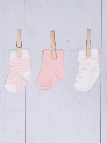 Zestaw skarpetek niemowlęcych dla dziewczynki 3-pak brzoskwiniowy