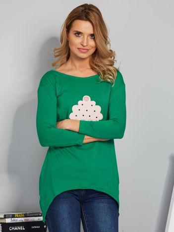 Zielona asymetryczna bluzka z babeczką