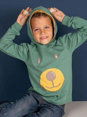Zielona bawełniana bluzka dziecięca z niedźwiadkiem 3D