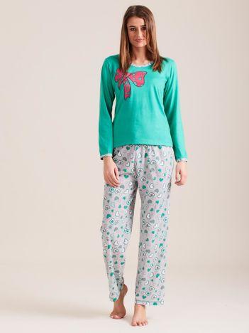 Zielona bawełniana piżama z nadrukiem